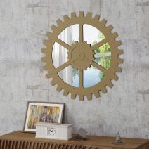 Christopher Knight Home Delmore Industrial Gear Wall Mirror, Champagne