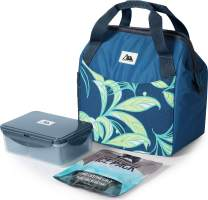 Arctic Zone High Performance Meal Prep Lunch Bag M.D with 6 Piece Printed Leak Proof Bento and 250g High Performance Ice Pack - Leafy Grey
