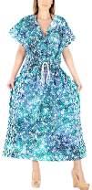 LA LEELA Women's Casual Caftan Dresses Sleepwear Beach Cover Up Hand Batik A