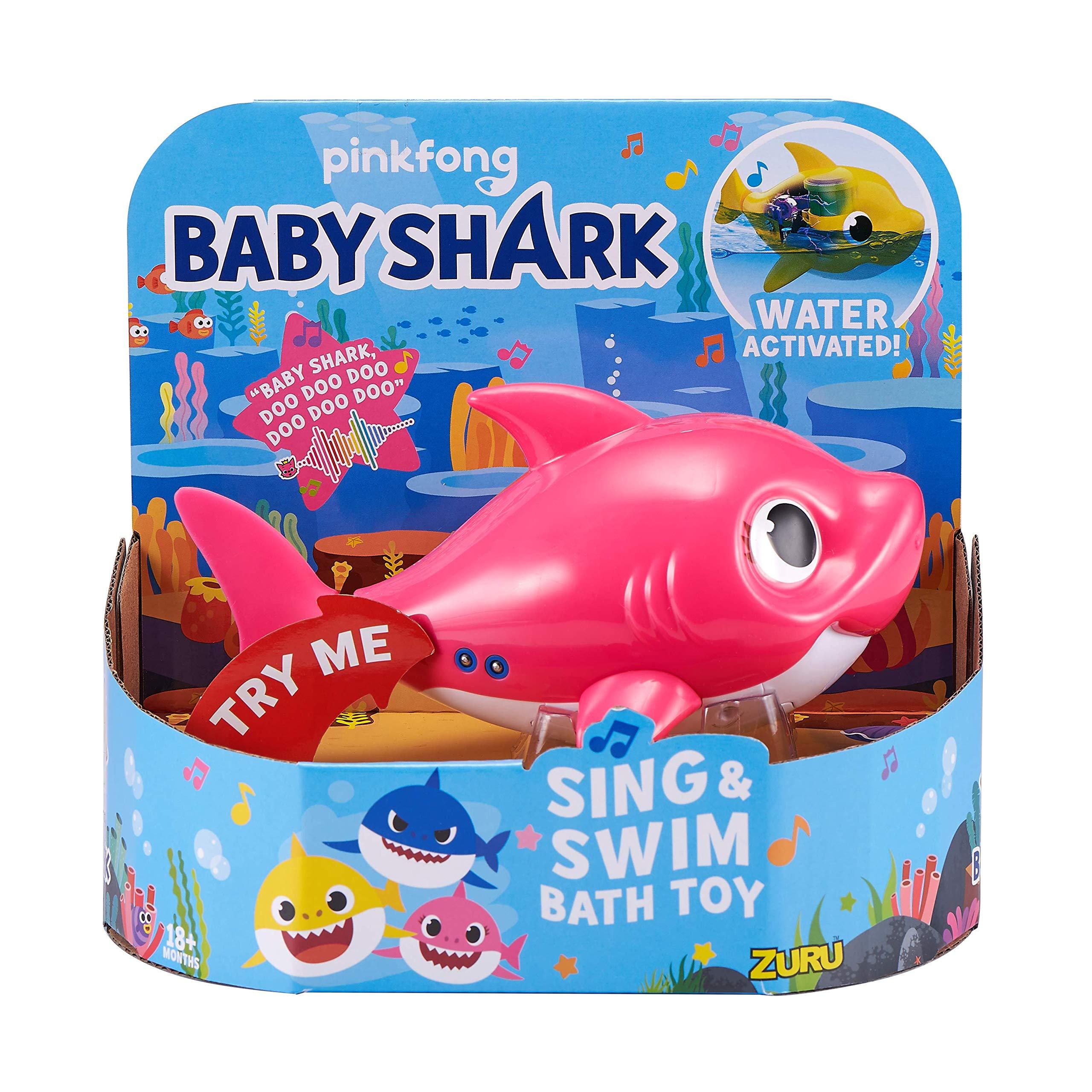 Robo Alive Junior Baby Shark Battery-Powered Sing and Swim Bath Toy by ZURU - Mommy Shark (Pink) (Custom Packaging)