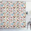 """Ambesonne Mexican Shower Curtain, Traditional Latin American Art Design with Natural Inspirations Flowers and Birds, Cloth Fabric Bathroom Decor Set with Hooks, 70"""" Long, White Blue"""