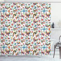 """Ambesonne Mexican Shower Curtain, Traditional Latin American Art Design with Natural Inspirations Flowers and Birds, Cloth Fabric Bathroom Decor Set with Hooks, 75"""" Long, White Blue"""
