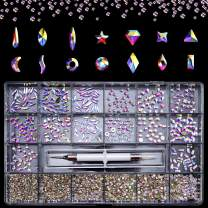 Nibiru Nail Rhinestones Kit, 3830pcs Multi Shapes Glass Crystal AB Rhinestones for Nail Decoration Mix Size Flatback Nail Jewels with Professional Wax Pen, Packaged in Diamond Storage Box (crystal ab)
