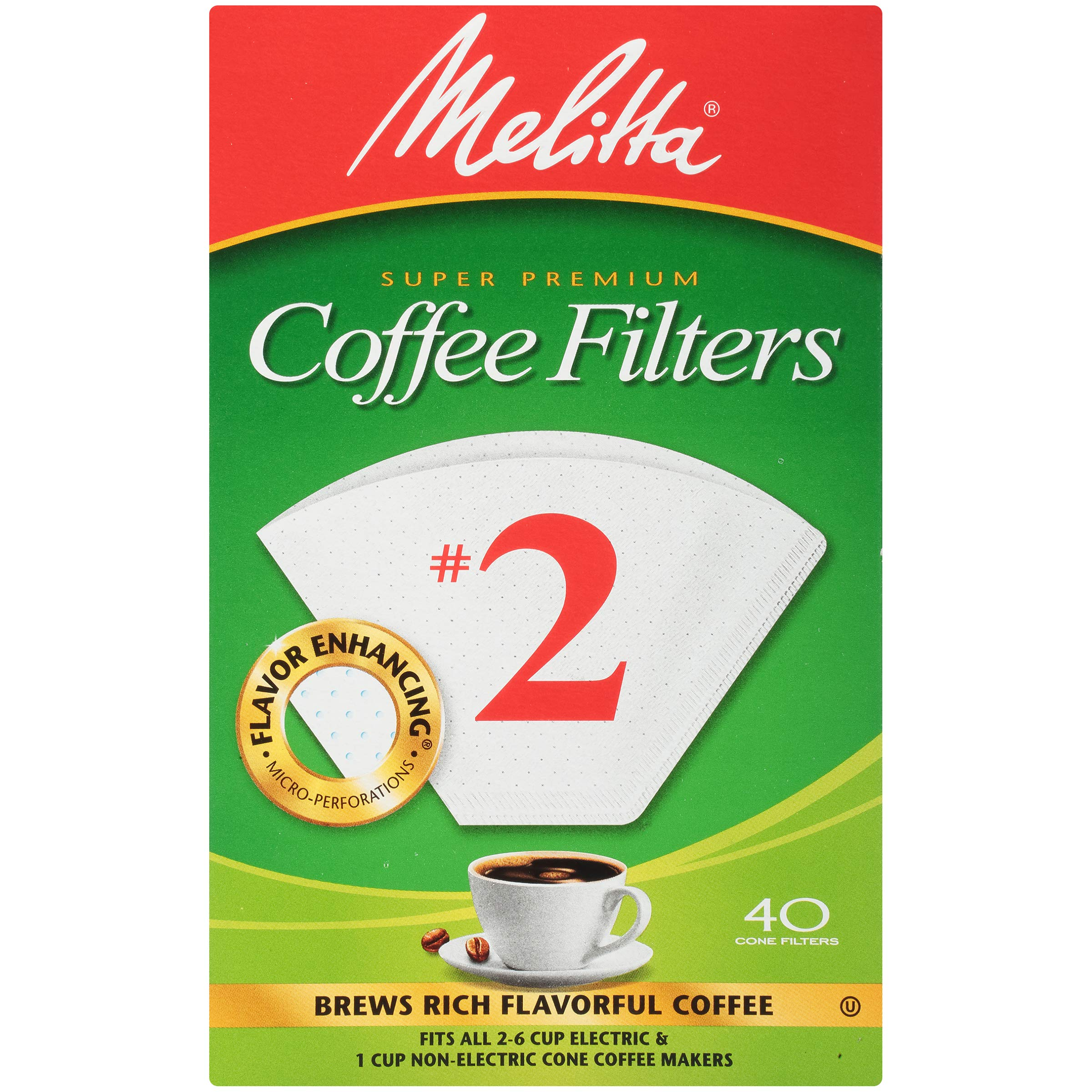 Melitta #2 Cone Coffee Filters, White, 40 Count (Pack of 12)