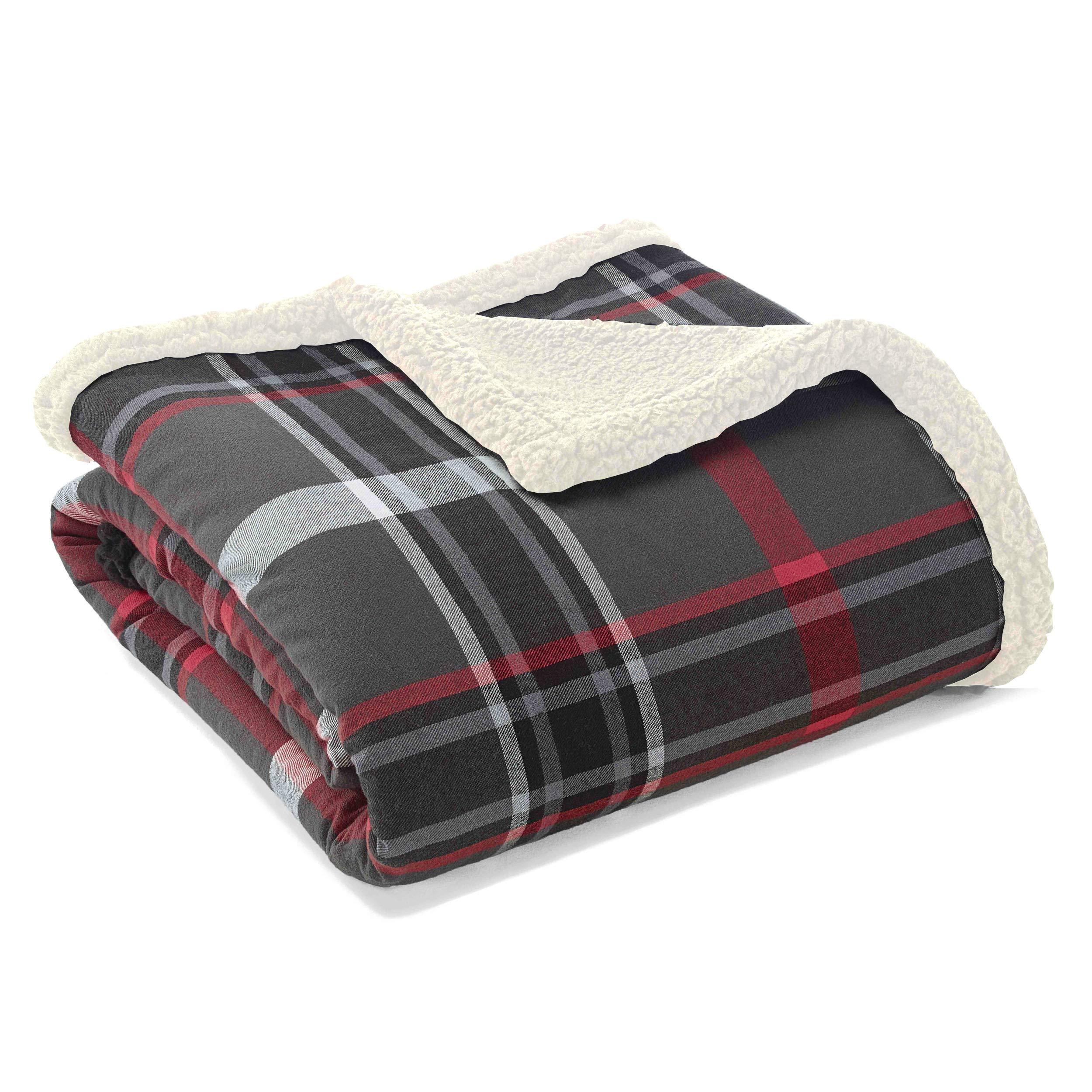 "Eddie Bauer Flannel Winslow Sherpa Fleece Throw, 50"" x 60"", Grey"