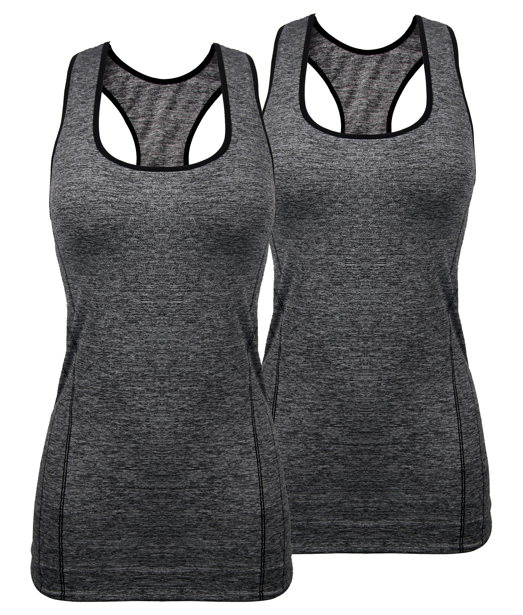 iloveSIA Women's Sports Tank Top High Impact Racerback Workout Yoga Tank Top Pack of 2