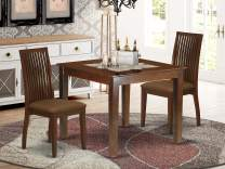 3-Piece Dinette table set - Table and 2 wood seat dining chairs in linen white finish