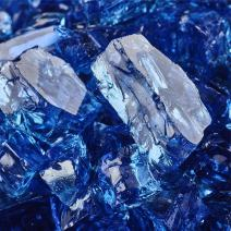 Deep Sea Blue - Fire Glass for Indoor and Outdoor Fire Pits or Fireplaces | 10 Pounds | 1/2 Inch, Reflective