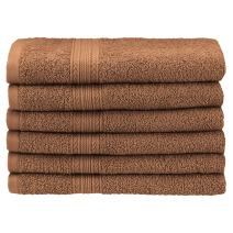 """Superior Eco-Friendly 100% Ringspun Cotton, 6 Piece Hand Towel Set (16"""" x 30"""") in Coffee"""