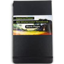 """Watercolor Paint Sketchbook, Water and Dry Media Art Notepad, Heavyweight 220gsm Paper, No Bleed, Top Opening, 5"""" x 8.25"""", 100 Pages, Crafts, Materials, Black Hardcover Journal - SuperiorMaker"""