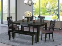 6 Pc Kitchen Table with bench-Dining Table and 4 Kitchen Chairs and Bench
