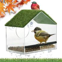 Window Bird Feeders for Outside, Large Bird Feed with Strong Suction Cups, Wild Bird Watching Gifts with Artificial Grass, Removable Seed Tray with Drainage Holes, Easy to Clean (Rooftop)