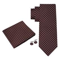Twenty Dollar Tie Proper Polka Silk Tie Pocket Square Cuff-links Set