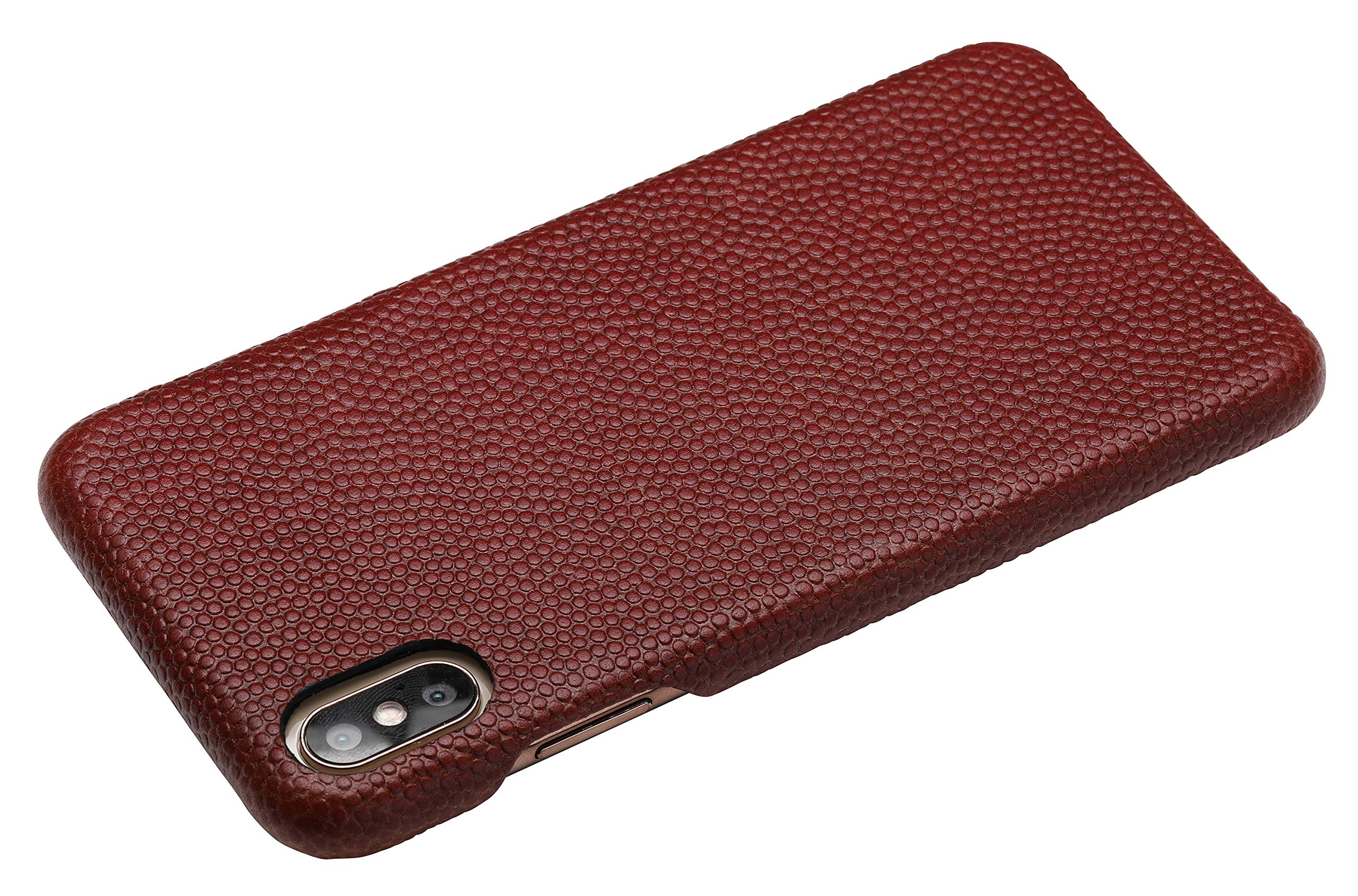 mcmadley Natural Leather Football Phone Case for iPhone Xs Max, Ultra Thin, Slim Matte Finish, Protective Grip, Light Weight, Made with Real Pro Football Leather