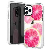 iPhone 11 Pro Clear Case,Funny Pink Peach Sweet Fruits Orange Grapefruits Aloha Summer Tropical Beach Trendy Cute Girls Women Sassy Soft Protective Clear Case with Design Compatible for iPhone 11 Pro