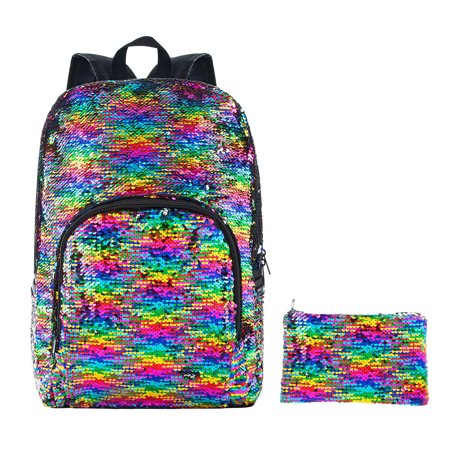 HeySun Reversible Sequins Backpack Magic Bookbag for Girls Sequence Backpack with Pen Case (Rainbow/Silver)