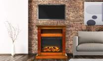 Cambridge CAM3437-1TEKLG2 Sienna 34 In. Electric Fireplace w/ Enhanced Log Display and Teak Mantel