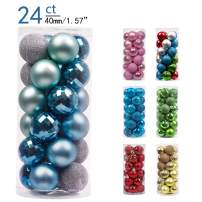 Valery Madelyn 24ct 40mm Winter Land Silver Light Blue Basic Ball Shatterproof Christmas Ball Ornaments Decoration for Christmas Tree