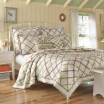 Laura Ashley Home | Ruffle Garden Collection | Quilt-100% Cotton Ultra Soft All Season Bedding, Reversible Stylish Coverlet, Full/Queen, Cream