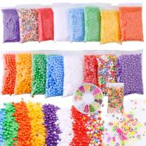 Slime Foam Beads Floam Balls – 18 Pack Microfoam Beads Kit 0.1-0.14 inch (90,000 Pcs) Micro Colors Rainbow Fruit Beads Craft Add ins Homemade DIY Kids Ingredients Flote Microbeads Supplies Mini Small