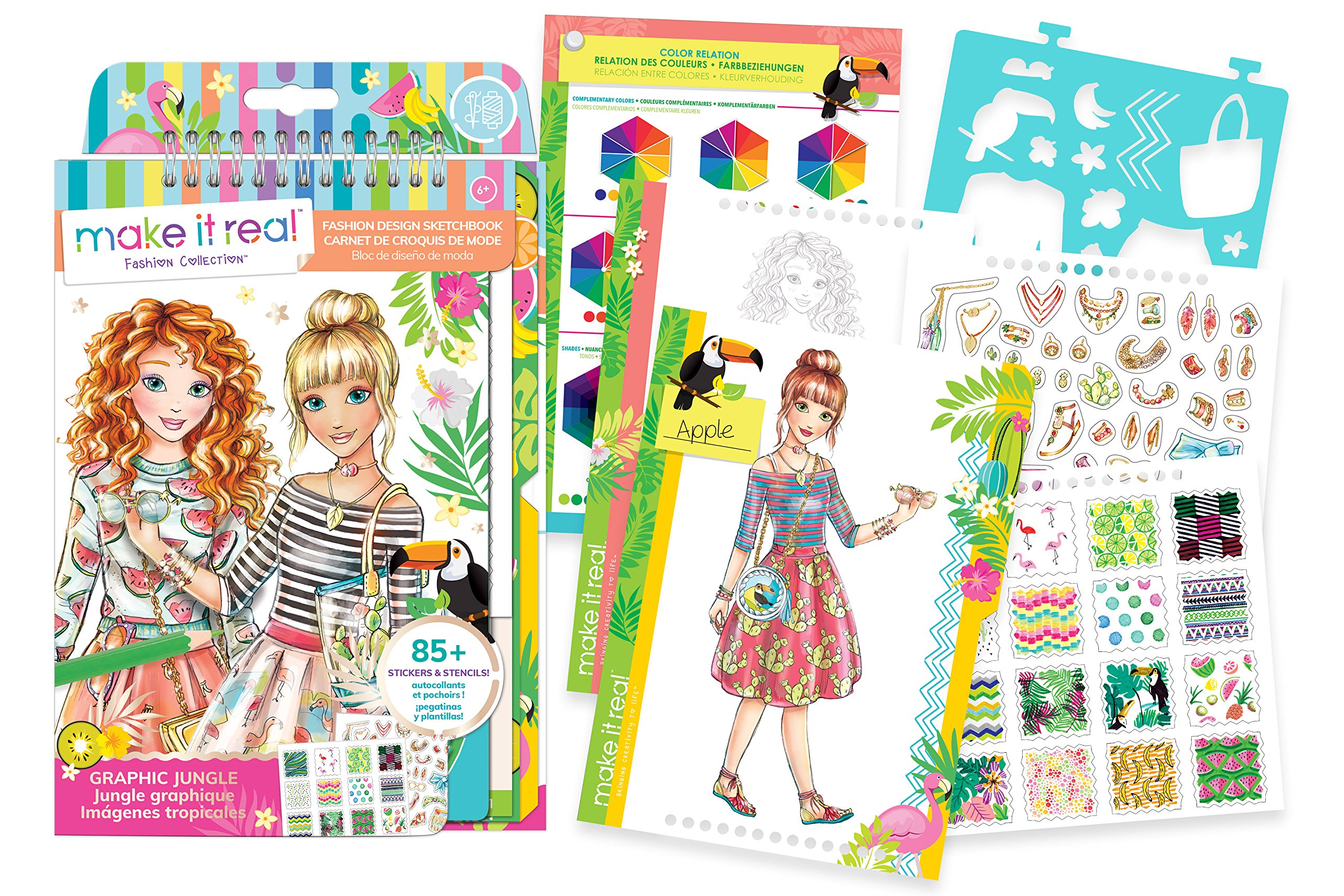 Make It Real - Fashion Design Sketchbook: Graphic Jungle. Inspirational Fashion Design Coloring Book for Girls. Includes Sketchbook, Stencils, Puffy Stickers, Foil Stickers, and Fashion Design Guide