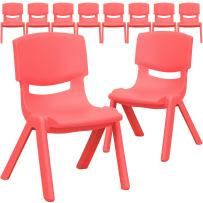 Flash Furniture 10 Pk. Red Plastic Stackable School Chair with 10.5'' Seat Height