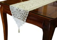 GEFEII White Lace Table Runner Embroidered Floral Lace Dresser Scarves for Kitchen Dining Table Outdoor Wedding Party Overlay Decoration (Ivory, 13 X 54)