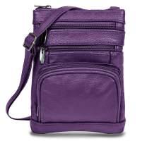 Maze Exclusive Womens Genuine Leather Cross Body Handbag Purse Messenger Bag with Multi-Pockets, Adjustable Strap