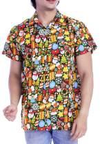 Funny Christmas Hawaiian Shirts for Mens Santa Claus Front Pocket Vacation