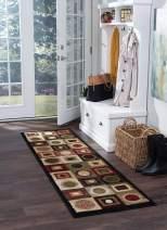 Tayse Ethan Black 2x8 Runner Area Rug for Hallway, Walkway, Entryway, or Foyer - Contemporary, Geometric