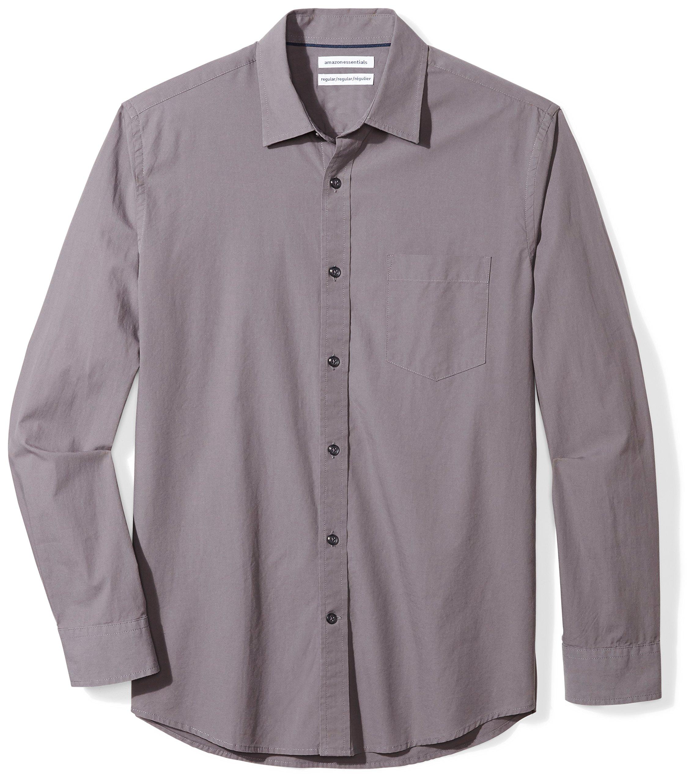 Amazon Essentials Men's Regular-Fit Long-Sleeve Solid Casual Poplin Shirt
