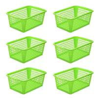 YBM HOME Plastic Perforated Storage Basket Bin Office Drawer, Shelf Desktop Countertop Tray Organizer 32-1184 (6, Green)