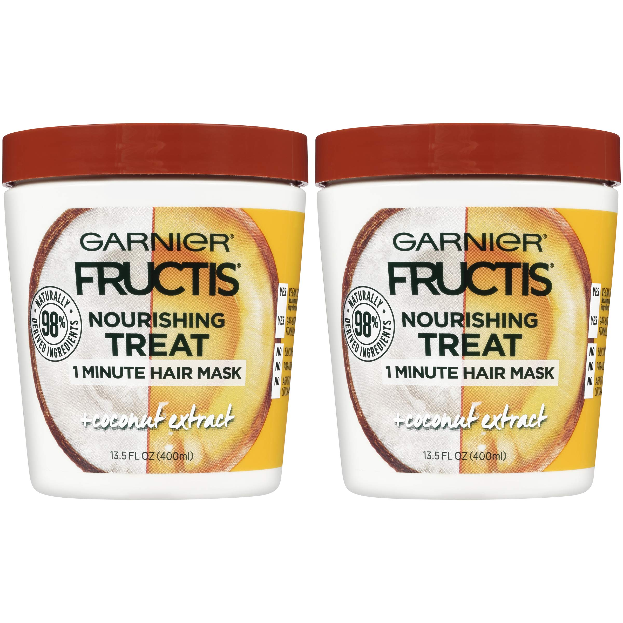 Garnier Fructis Nourishing Treat 1 Minute Hair Mask with Moisturizing Coconut Extract 13.5 Fl Oz (Pack of 2) (Packaging May Vary)