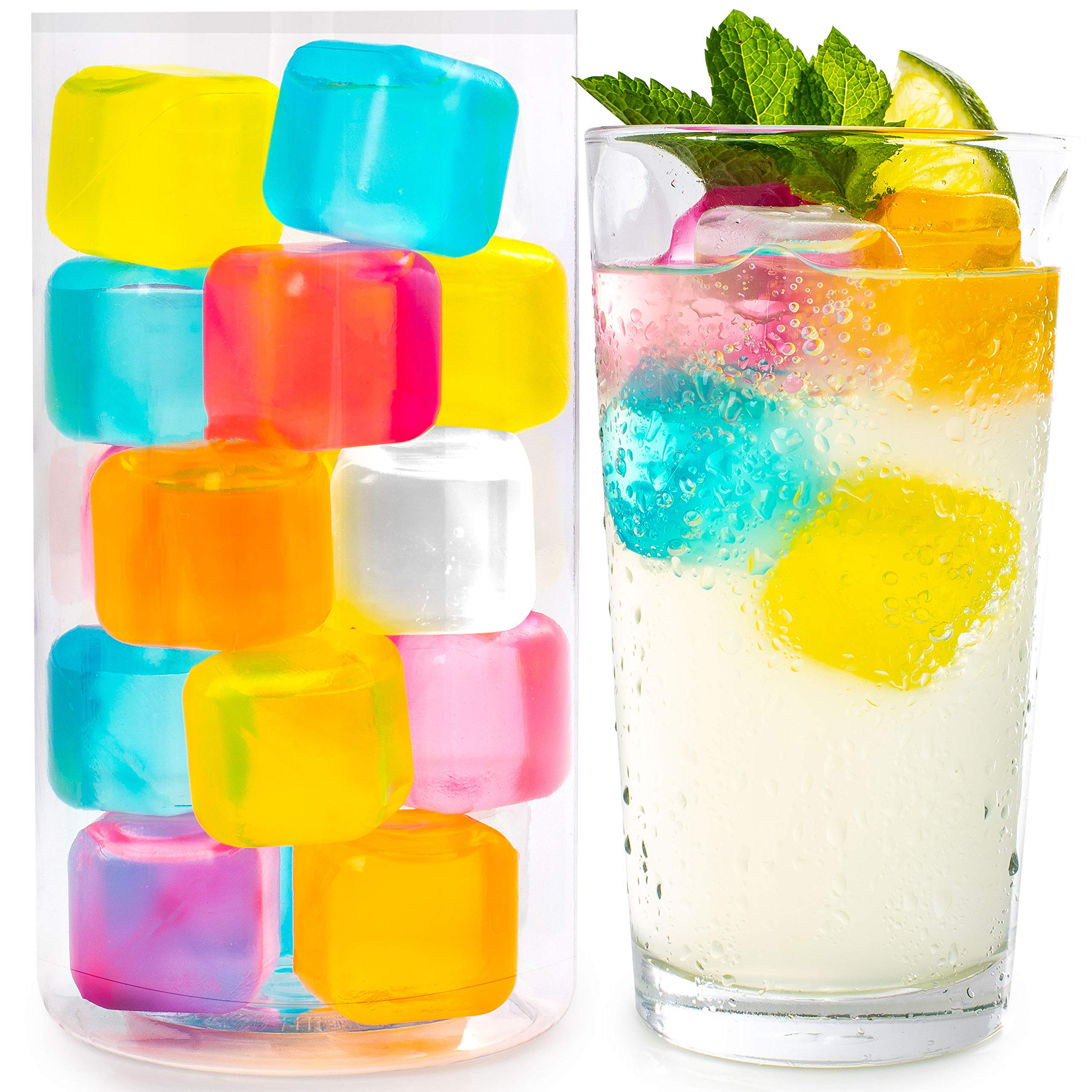 Reusable Ice Cubes For Drinks - Chills Drinks Without Diluting Them - Made From BPA Free Plastic - Refreezable, Washable, Quick And Easy To Use - For All Beverages - Pack Of 30 With Storage Tube