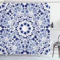 "Ambesonne Flower Shower Curtain, Middle Eastern Swirl Petals with Ottoman Folk Art Effects Boho Design, Cloth Fabric Bathroom Decor Set with Hooks, 84"" Long Extra, Blue"