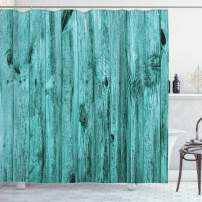 "Ambesonne Turquoise Shower Curtain, Wall of Turquoise Wooden Texture Background and Antique Timber Furniture Print, Cloth Fabric Bathroom Decor Set with Hooks, 70"" Long, Teal"
