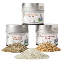 Garlic Lovers Collection Gift Pack - Non GMO - 3 Magnetic Tins - Gourmet Finishing Salts   Crafted In Small Batches by Gustus Vitae   #5