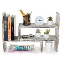 Rustic Torched Wood Adjustable Desktop Bookcase Office Organizer Shelf Rack