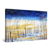 """Startonight Canvas Wall Art Surreal Blue Navy Sky and Landscape Painting Framed 24"""" x 36"""""""