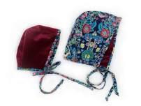 Baby Bonnet Christmas Red Burgundy Velvet Baby Girls Hat Reversible Dual Side Soft Velvet & Cotton Holiday Floral Winter hat