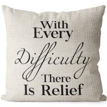 BEDSUM Linen Throw Pillow Cover, with Every Difficulty There is Relief for Living Room Sofa Couch Square Decorative Bed Pillow Case, 18 × 18 Inches