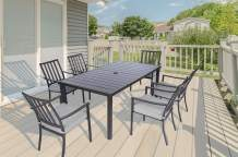 Mod CARTDN7PC-GRY 72 in. x 40 in. Slat Table Carter 7-Piece Set with 6 Pewter Grey Padded Dining Chairs and, Navy
