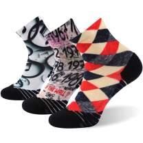 HUSO Unisex Novelty Colorful Print Athletic Running Sports Quarter Socks 1,3,4,7 Pairs