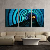 """wall26 - 3 Piece Canvas Wall Art - Subway High-Speed Train with Motion Blur - Modern Home Decor Stretched and Framed Ready to Hang - 24""""x36""""x3 Panels"""