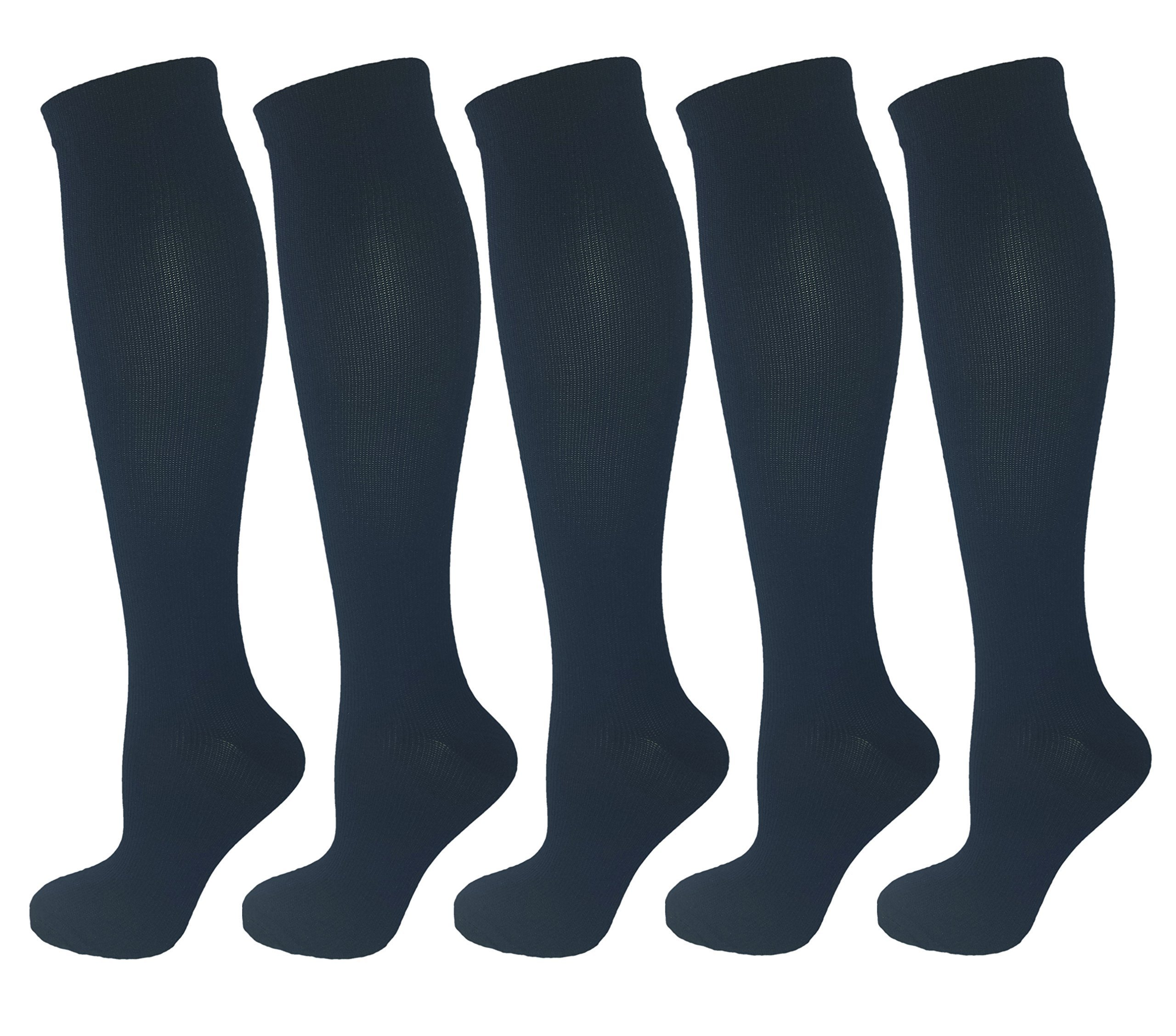 Ladies Moderate Graduated Compression Socks 15-20 mmHg. 5 Pair. Assorted Colors