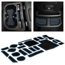 CupHolderHero for Jeep Wrangler Accessories 2018-2021 Premium Custom Interior Non-Slip Anti Dust Cup Holder Inserts, Center Console Liner Mats, Door Pocket Liners 24-pc Set (4-Door) (Blue Trim)