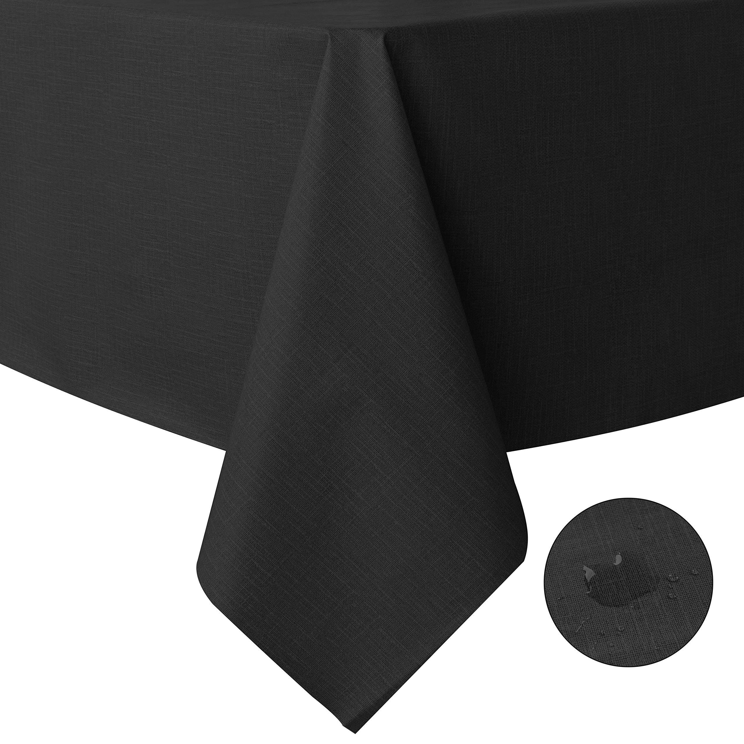 sancua 100% Waterproof Rectangle PVC Tablecloth - 60 x 140 Inch - Oil Proof Spill Proof Vinyl Table Cloth, Wipe Clean Table Cover for Dining Table, Buffet Parties and Camping, Black