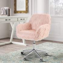 Sophia & William Pink Desk Chair, Fluffy Chair for Girls, Makeup Vanity Chair, Modern Faux Fur Office Chair with Wheels, Height Adjustable Swivel Accent Chair for Bedroom Living Room