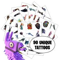 Video Game Party Favors by Citadel Black - Temporary Tattoos for Boys Birthday - 90 Tattoos - Battle Royale Birthday Parties
