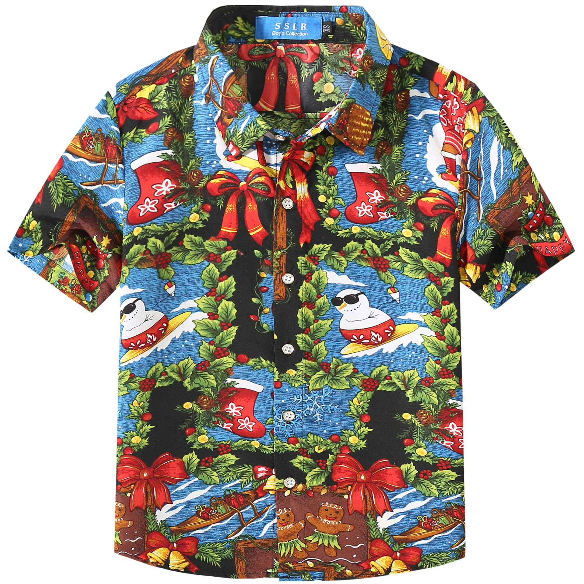 SSLR Big Boys' Santa Claus Party Tropical Ugly Hawaiian Christmas Shirts